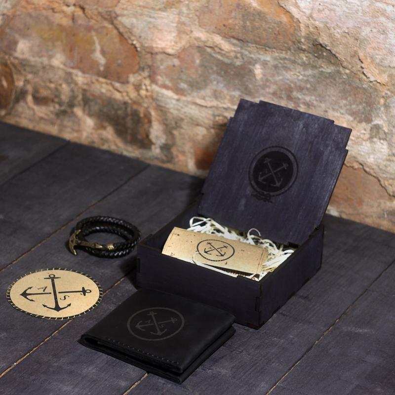 Подарочный набор для мужчины Wallet Square Pack - Black (Кошелёк + Браслет + Коробочка)