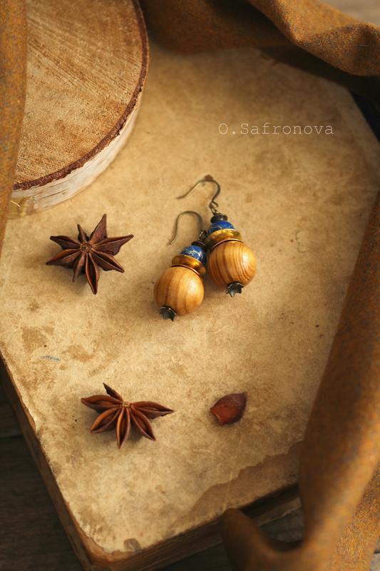 Серьги с варисцитом Осенний пейзаж