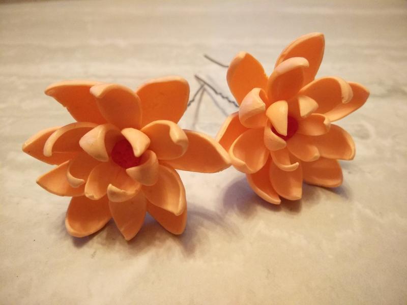 """Шпильки для волос """"Персиковые цветы"""""""