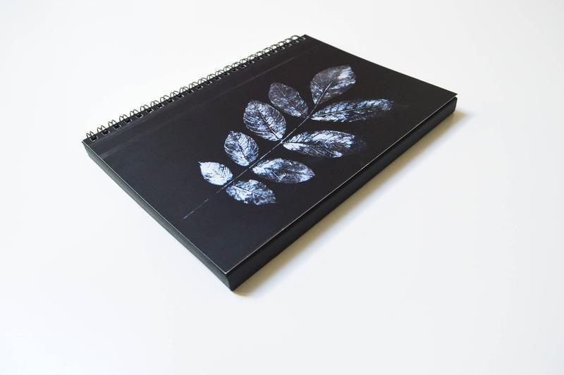 """Скетчбук черные страницы и белая ручка. иллюстрация """"Веточка"""""""