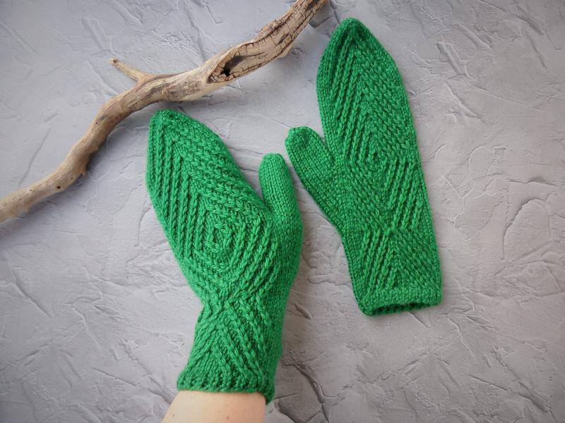 Варежки Miracle из мериносовой шерсти (зеленые)