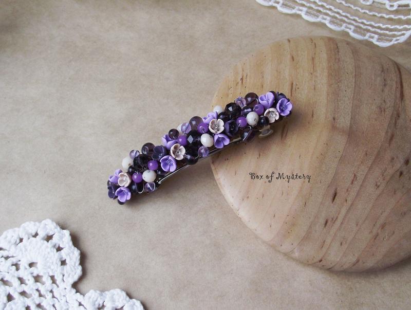 Заколка с цветами, фиолетовая цветочная заколка, украшение для волос, подарок для девушки