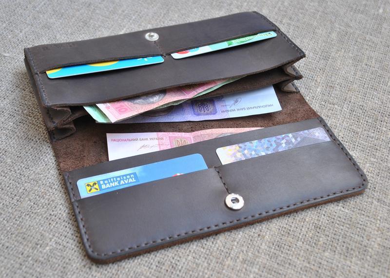 1dfd54517bf1 Вместительный кошелек из натуральной кожи K22-450 ручной работы ...