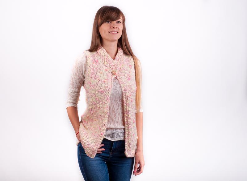 вязаный жилет спицами женский спицами ручной работы купить в украине