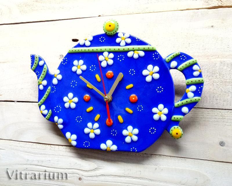 """Годинник зі скла """"Ромашковий чай"""""""