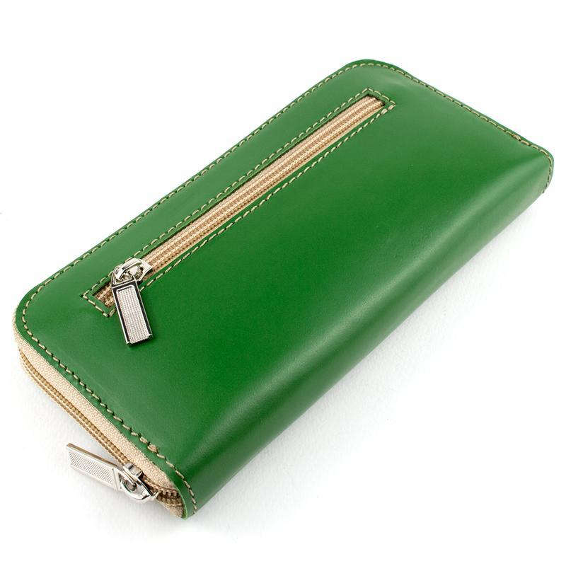 d635aa006d84 Женский кожаный кошелек на молнии (зелёный) ручной работы купить в ...