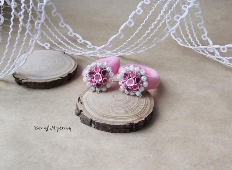 Нежно розовые резинки для волос, украшение с цветами, пара резинок, подарок девочке