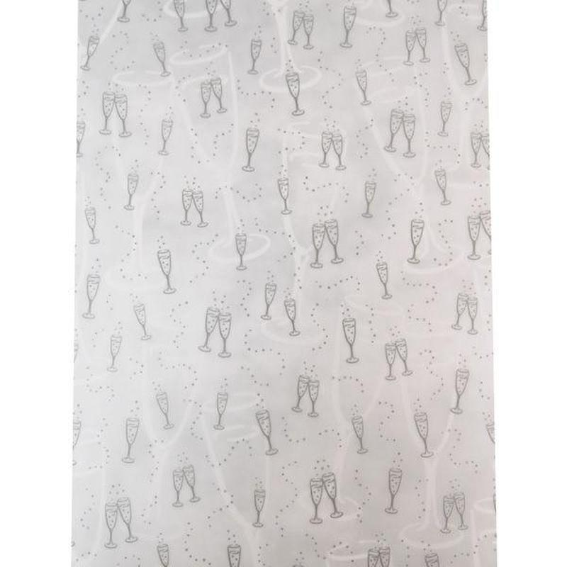 Бумага для скрапбукинга Heyda А4 115г/м2 78871 Веллум полупрозрачная Свадебные бокалы Серебро