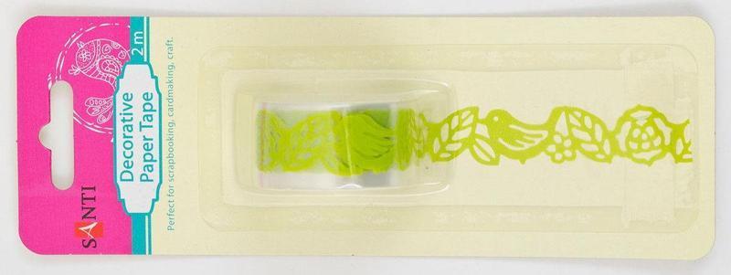 Декоративный скотч Santi Птички, Зеленая 2м 952697