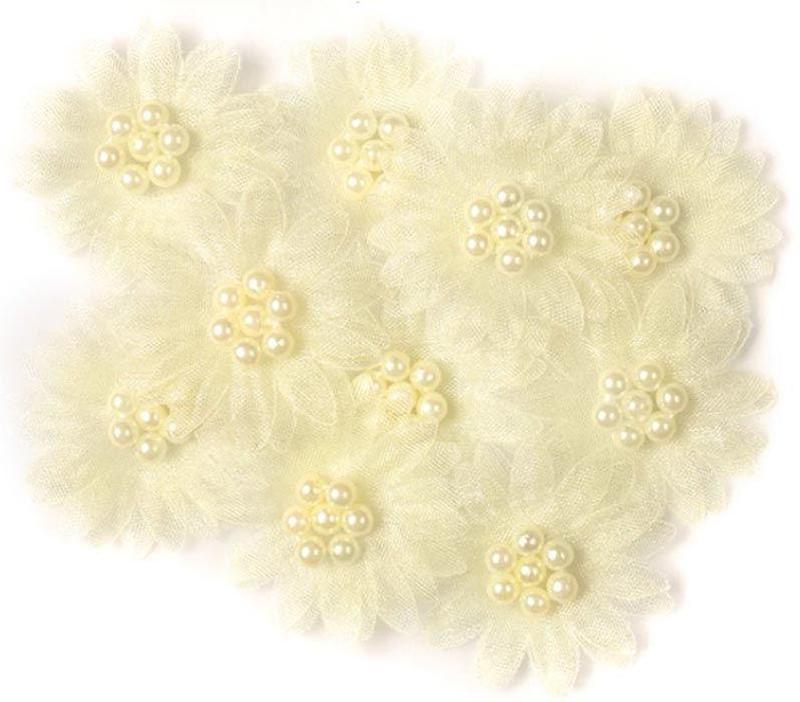 Цветы МАРГАРИТКИ с жемчужинами желтые 3,5 см 10шт DALPRINT 947AS1002