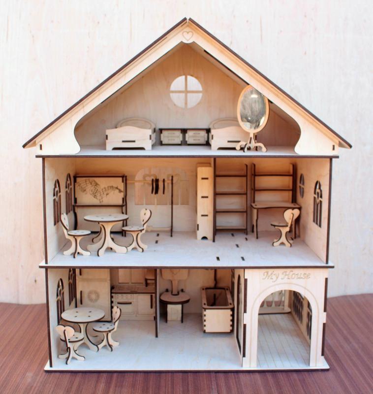 выглядит фотографии домика для кукол из фанеры этой марины две