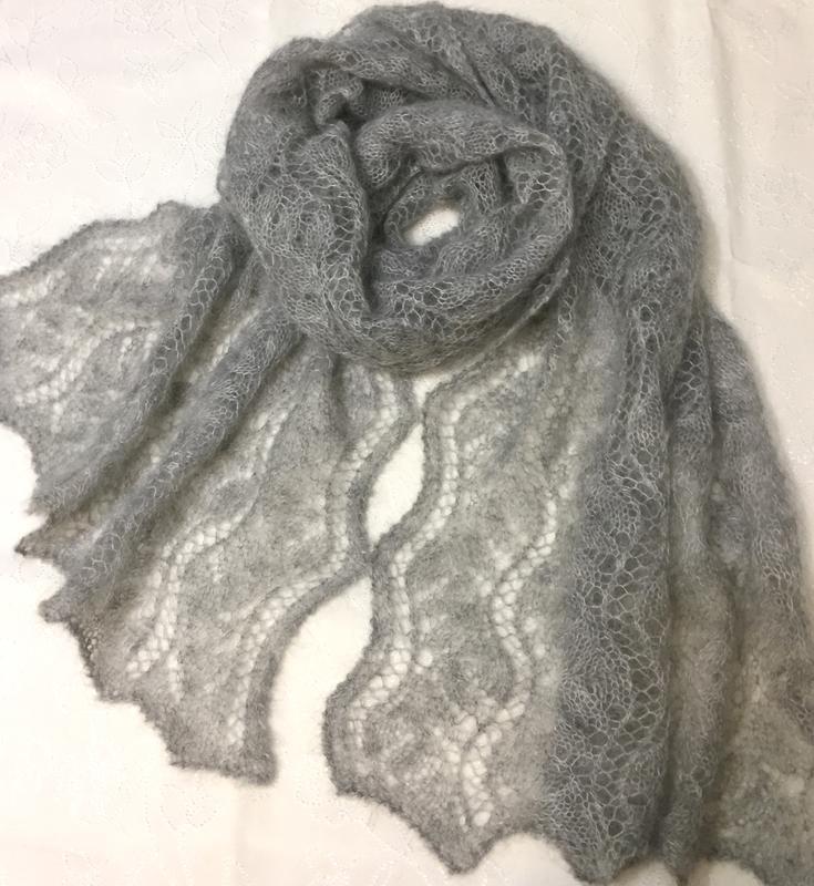 Ажурный мохеровый шарф