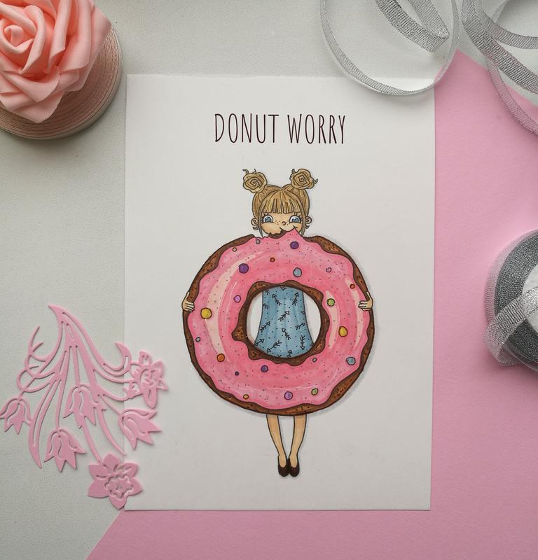Открытка с пончиком, сделать открытку поздравление