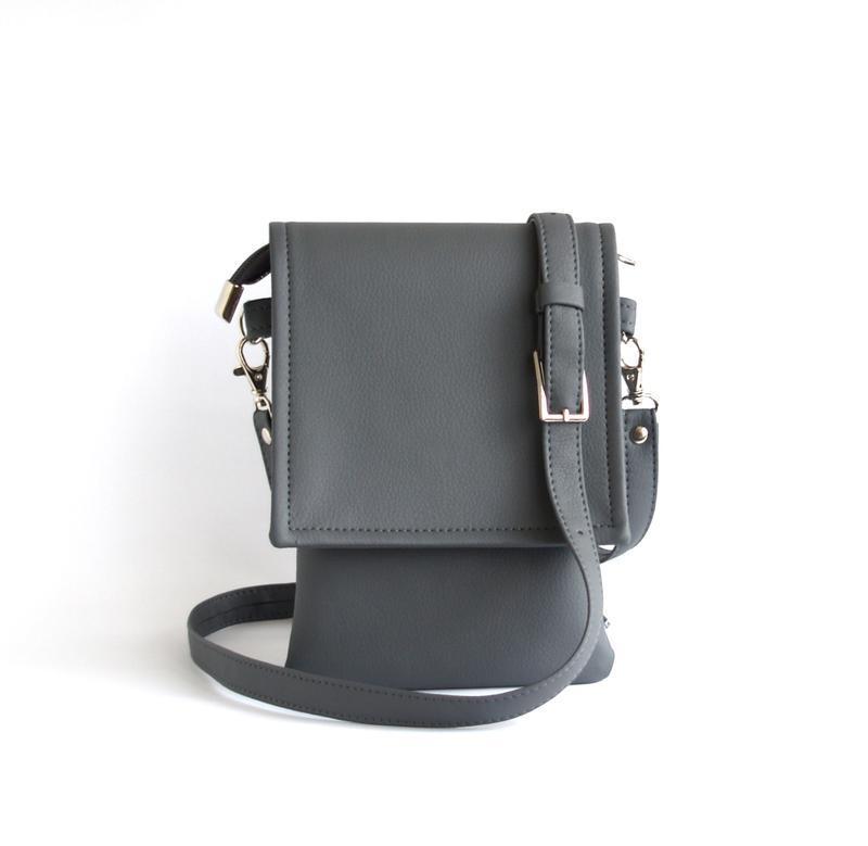 2dc8b7dc8084 Маленькая серая сумка через плечо для документов и телефона. 570грн.  Заказать