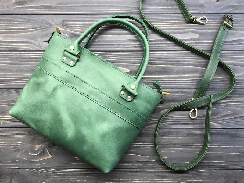 325f0e95b9e8 Женская кожаная сумочка на молнии с ручками и ремешком Aurora green - 2  вида кожи, 15 оттенков. 1 150грн