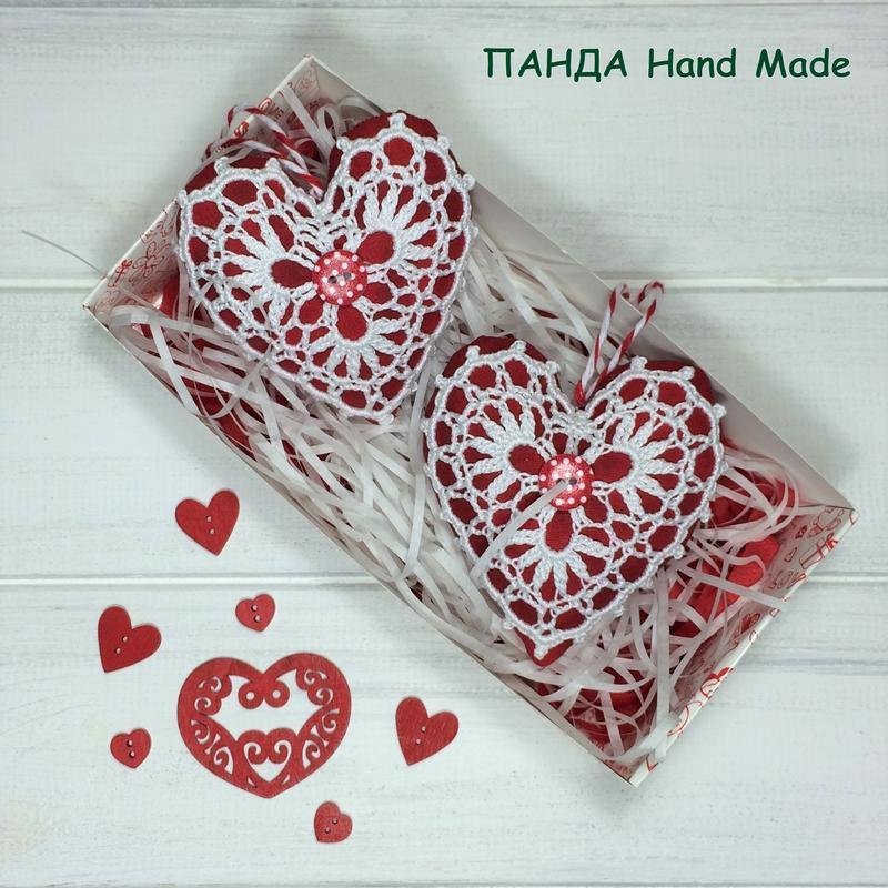 """Набор подвесок ручной работы """"Сердечки-валентинки"""" в подарочной упаковке (№1)"""