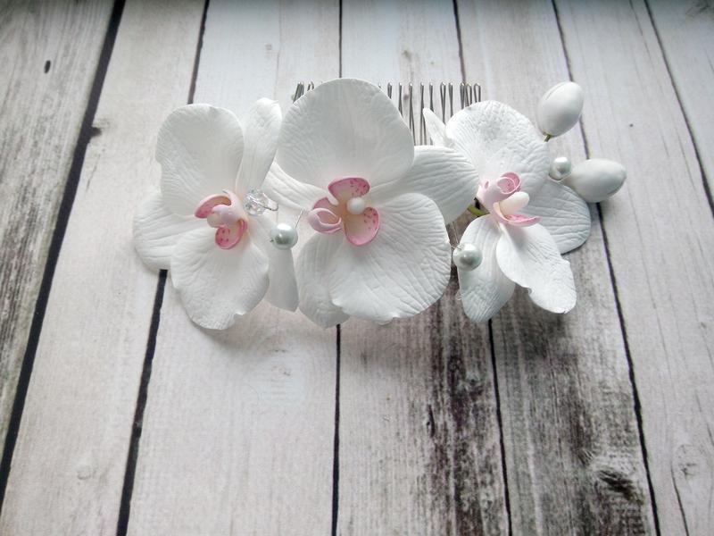 Гребень для волос с орхидеями из фоамирана