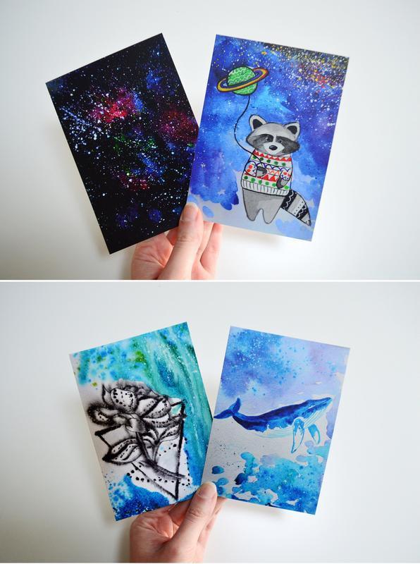 Набор из 10 открыток. Оригинальный подарок. Авторские рисунки