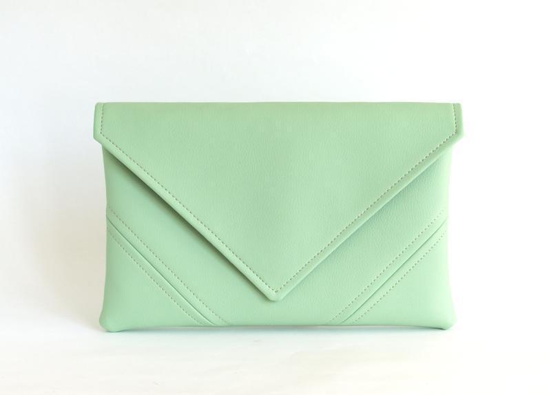 4f1ea80c1c70 Ментоловый клатч через плечо / Маленькая сумочка ручной работы ...