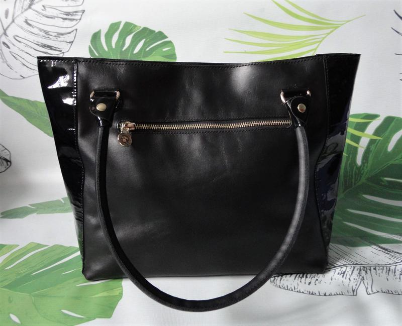 Шкіряна жіноча сумка лаковані вставки