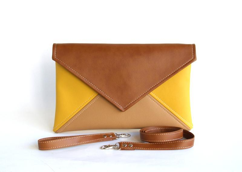 Желтый коричневый клатч / Коричневая сумка через плечо