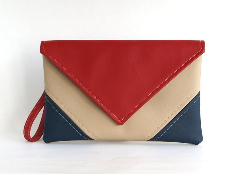 Красно синий клатч через плечо / Сине красная сумочка