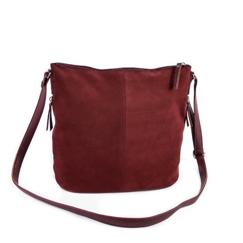 24919da7d345 Замшевая сумка через плечо бордовая ручной работы купить в Украине ...