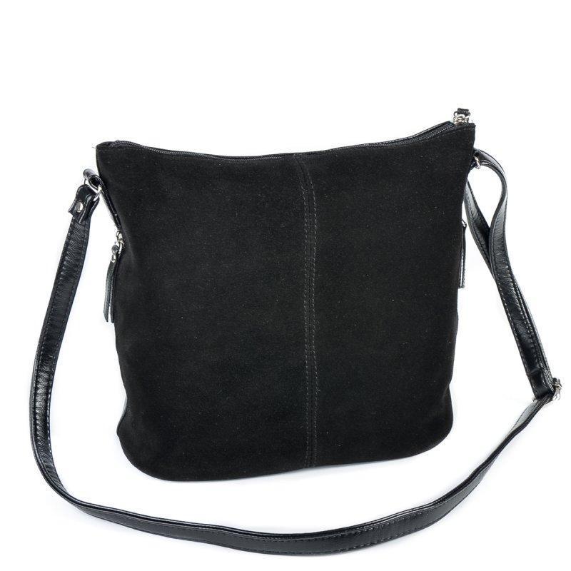 d1fc545a9c63 Замшевая сумка через плечо черная ручной работы купить в Украине ...