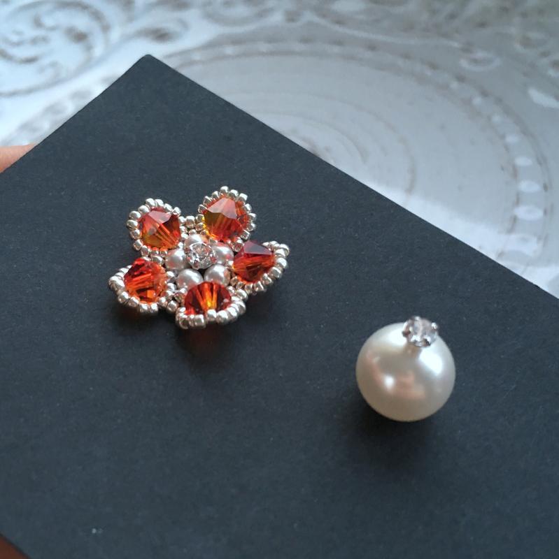 Цветочные серебряные серьги Swarovski коралловый опал из ювелирного бисера