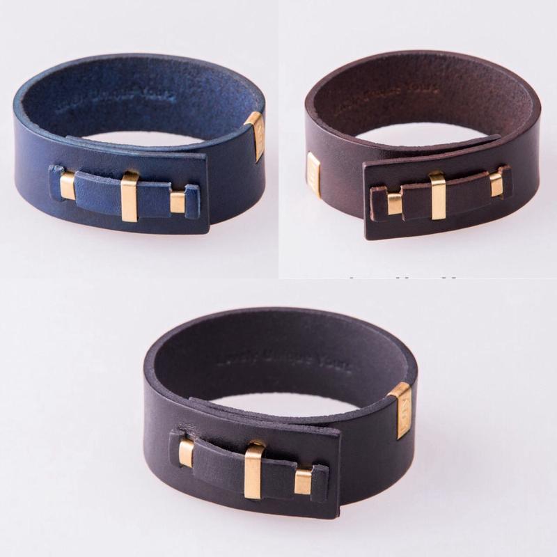 Мужской кожаный браслет LUY N.4 один оборот (синий). Браслет из натуральной кожи