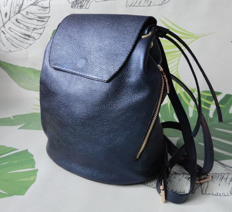 3d43c34e5efa Женский кожаный рюкзак синий металлик ручной работы купить в Украине ...