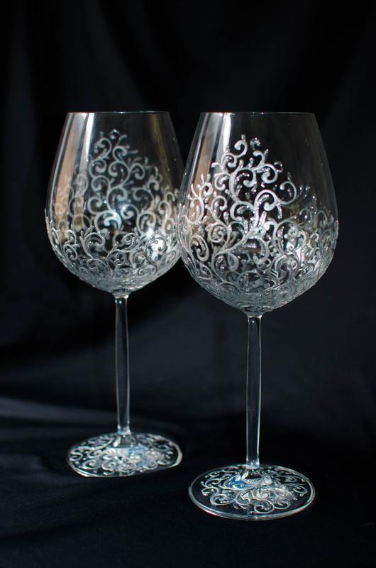 Свадебные бокалы из богемского стекла ′White gold′