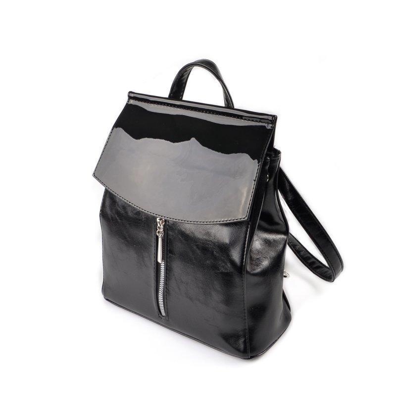 9aac52cb058f Городской рюкзак-сумка трапеция с лаковым клапаном ручной работы ...