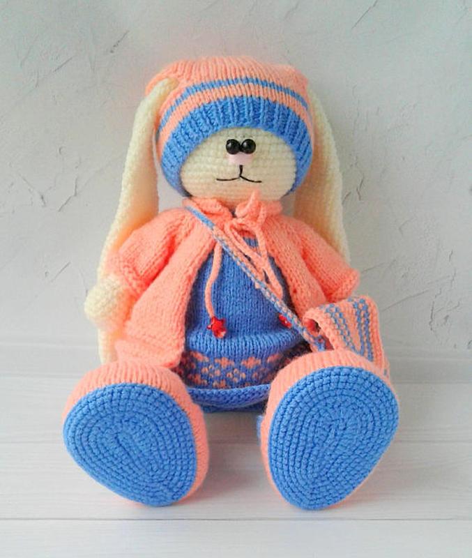 вязаный зайчик вязаная игрушка заяц ручной работы купить в украине