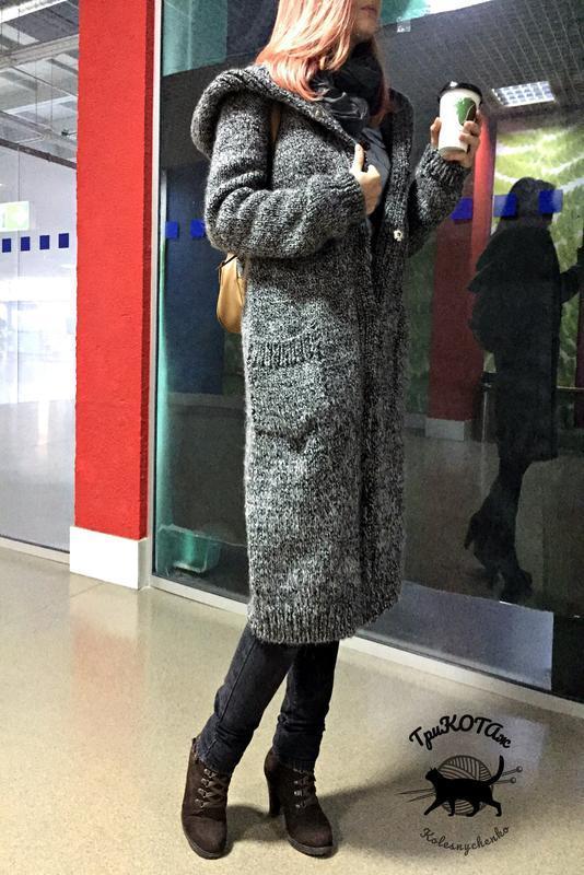 """Вязаное пальто с объемным капюшоном """"Silver Fox"""" (Серебристый лис)."""