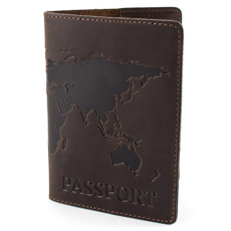 """Обложка кожаная на загранпаспорт """"Карта"""" (коричневая)"""