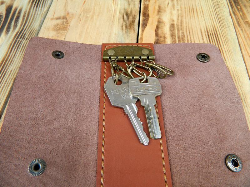 Кожаный кейс для ключей, Большая кожаная ключница