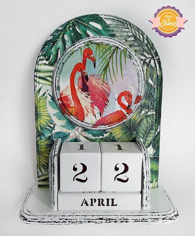 Вічний календар Рожевий фламінго в листках (російська/англійська)