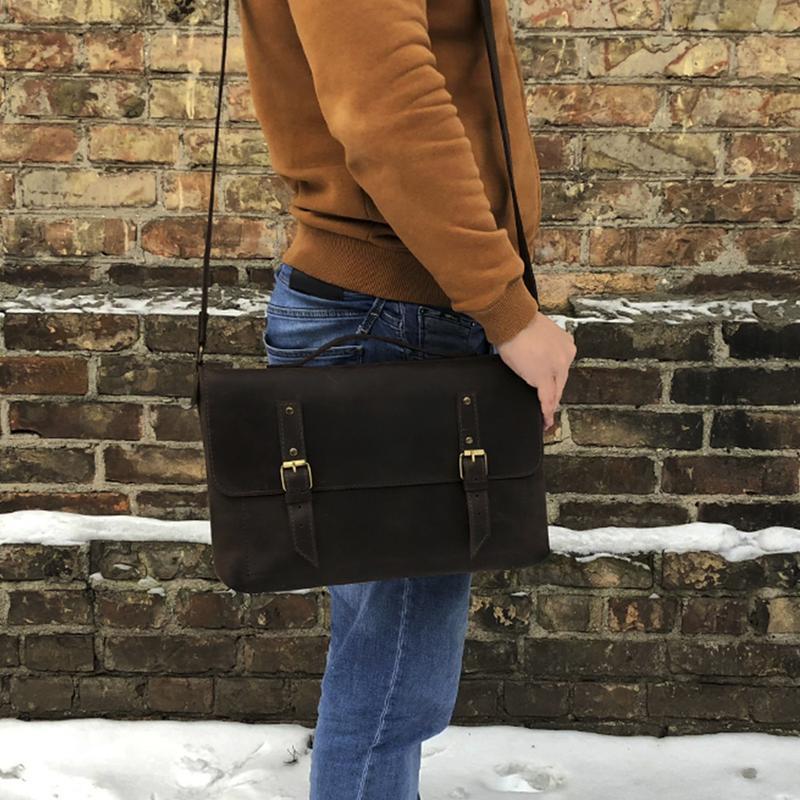 695aea83f602 Коричневая кожаная мужская сумка через плечо ручной работы купить в ...