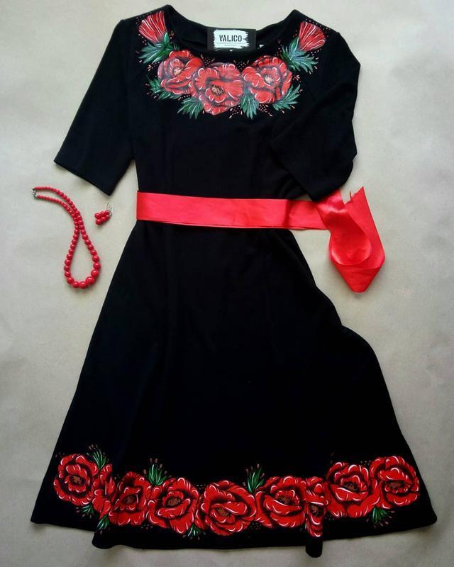 Платье с ручной росписью