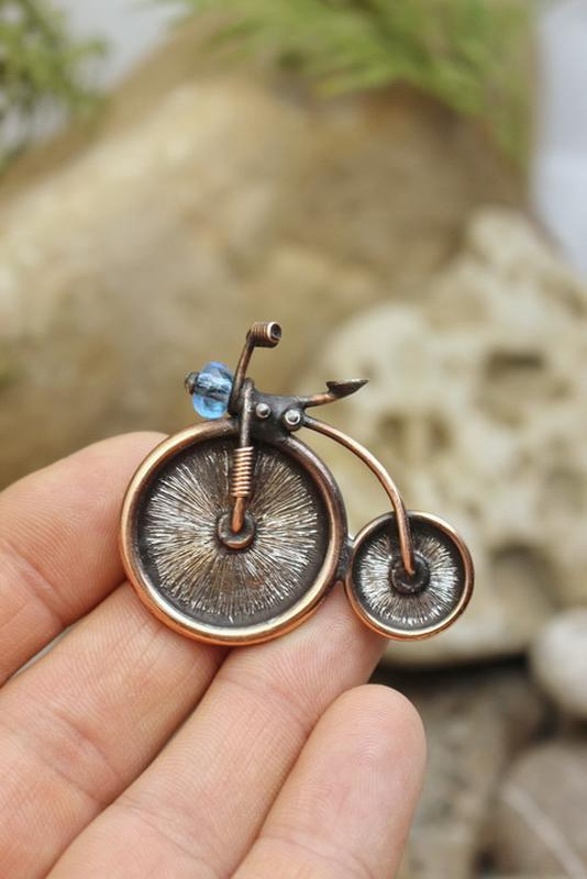 Брошь Ретро велосипед Подарок девушке