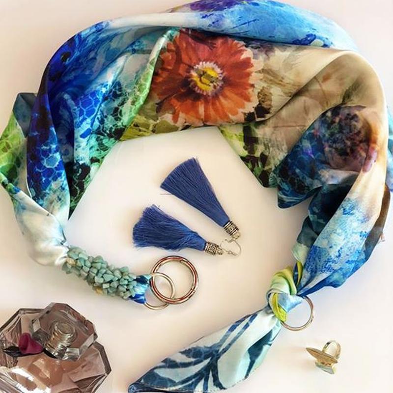 """""""Весенний шик"""" 100% шелковый шарф, шелковый платок, шарф-ожерелье, шарф-чокер"""