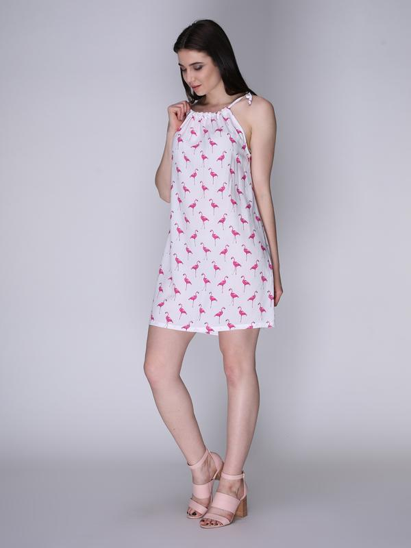 Платье белое с фламинго