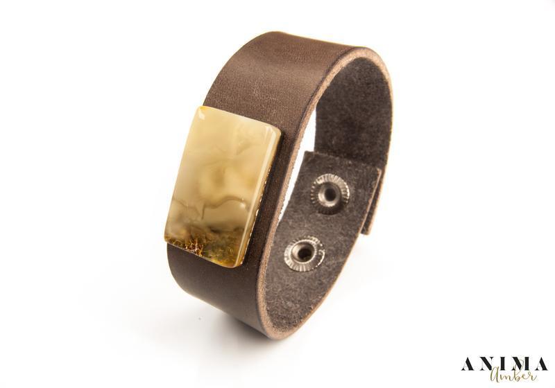 Кожаный браслет с натуральным янтарем!!!