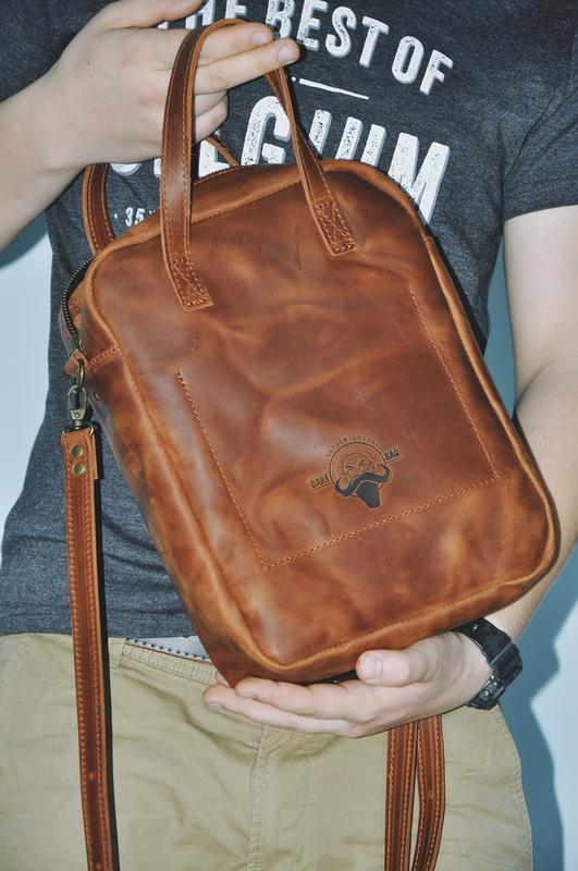 """Кожаная сумка """"Хантер"""" в коньячном цвете"""