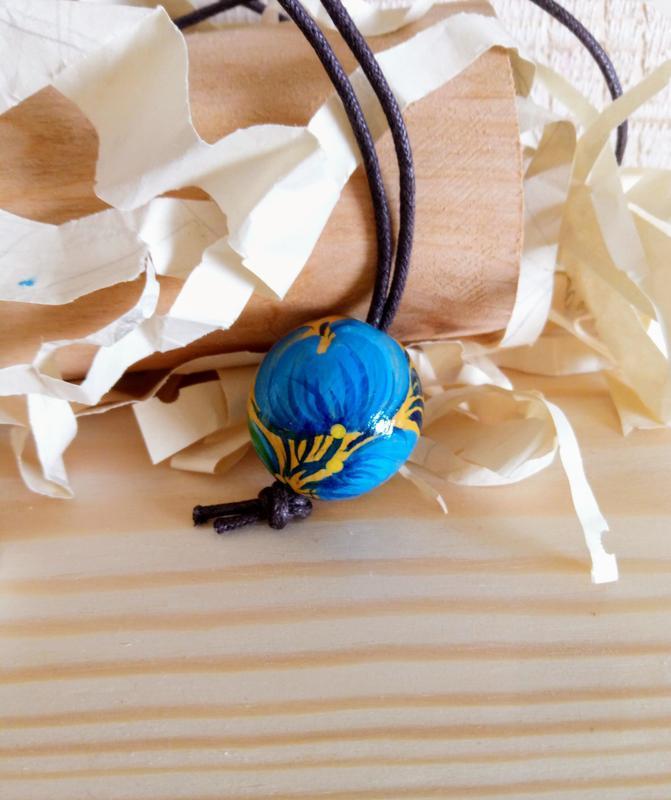 Деревянный кулон, подвеска ручная роспись Барвинок.