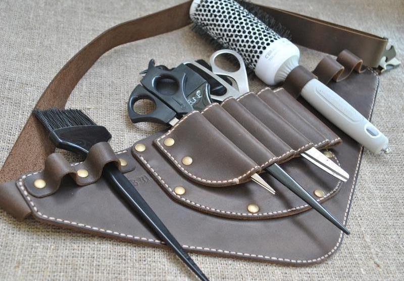 Кобура для парикмахерских принадлежностей из натуральной кожи KOB01-450+beige