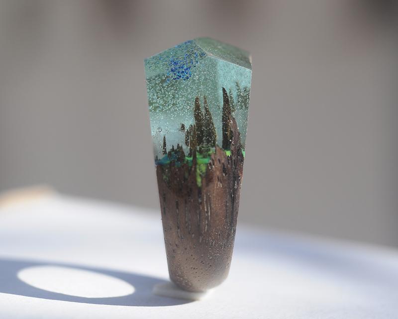 Кольцо деревянное из дуба и смолы