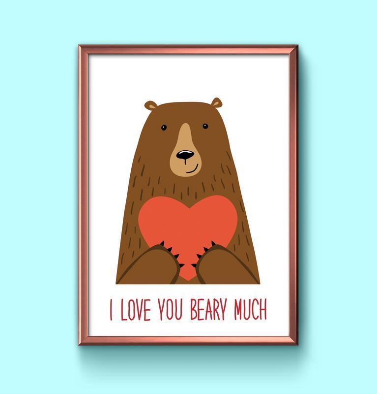 Милый постер с медведем и сердцем