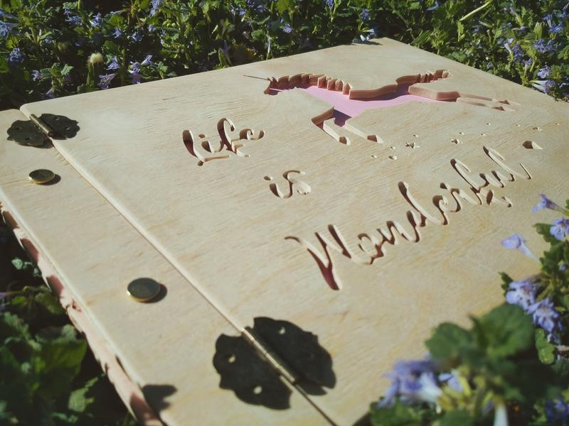 Детский фотоальбом из дерева с единорогом | подарок на крещение ребенка - альбом детский деревянный